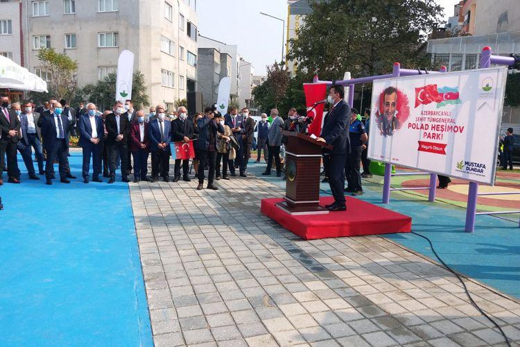 Türkiyədə şəhid general Polad Həşimov adına parkın açılışı olub - Foto