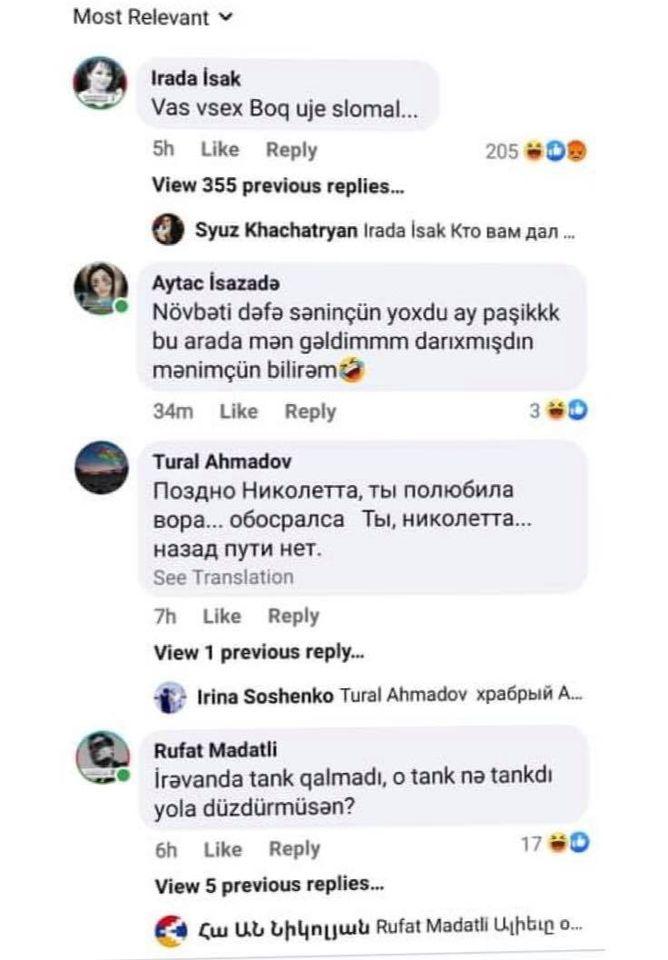 Azərbaycanlılar Paşinyana nə yazır... - Foto