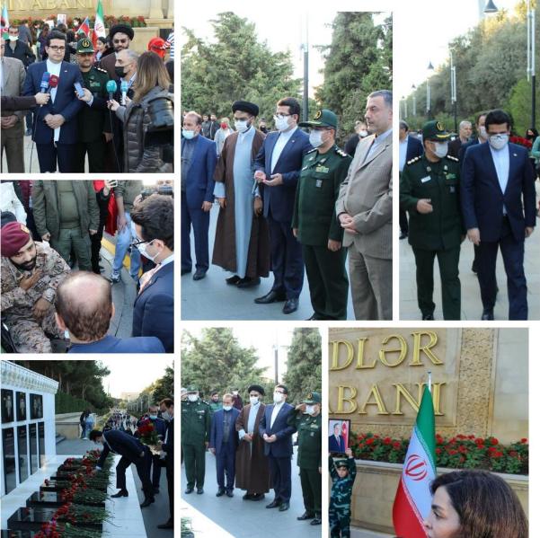 İran səfirliyinin əməkdaşları Şəhidlər Xiyamanını ziyarət etdi - Foto