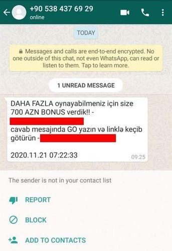 """""""WhatsApp"""" üzərindən həyata keçirilən daha bir """"fişinq"""" kampaniyası qeydə alınıb - Foto"""