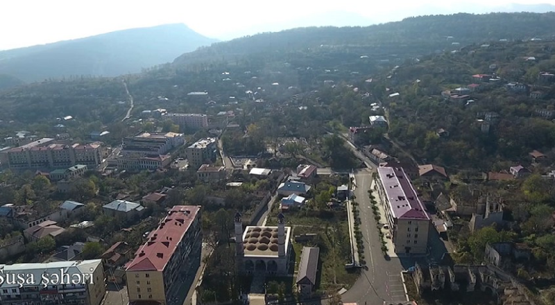 Şuşa şəhərinin havadan görüntüsü - Video
