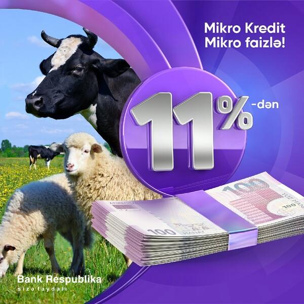Bank Respublika Mikro Kredit faizlərini 11%-ə endirdi!