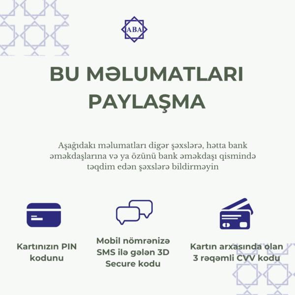 """ABA-dan xəbərdarlıq: """"Vətəndaşlar, kart məlumatlarını paylaşmasınlar"""""""