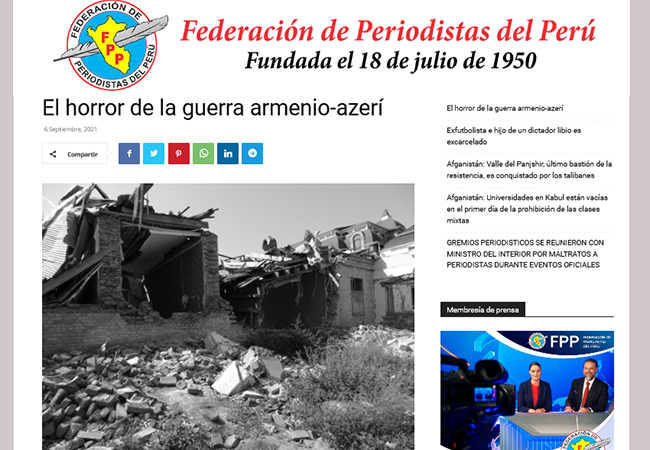Peru mətbuatı ermənilərin insanlığa qarşı törətdikləri cinayətlərdən yazıb