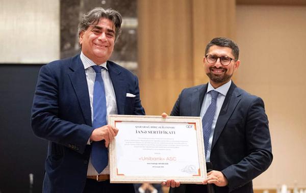 Unibank Qarabağ Dirçəliş Fonduna dəstəyinə görə sertifikat alıb